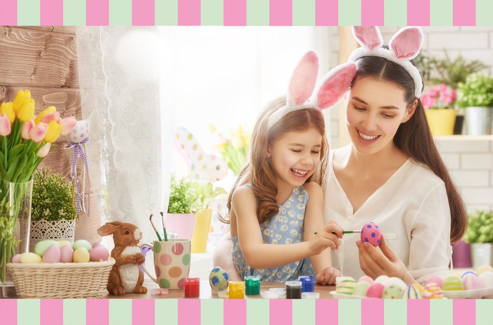Mother and Daughter Coloring Easter Egg