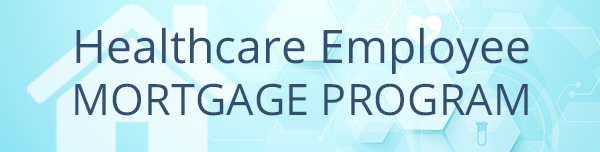 Healthcare employee mortgage blue graphic